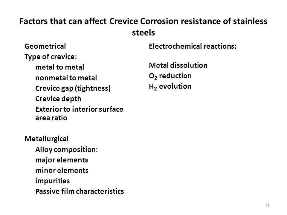 Factors that can affect Crevice Corrosion resistance of stainless steels