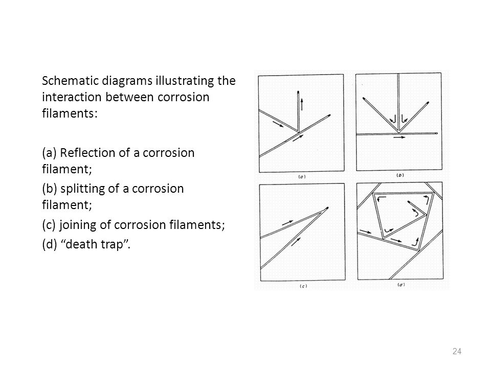 Schematic diagrams illustrating the interaction between corrosion filaments: