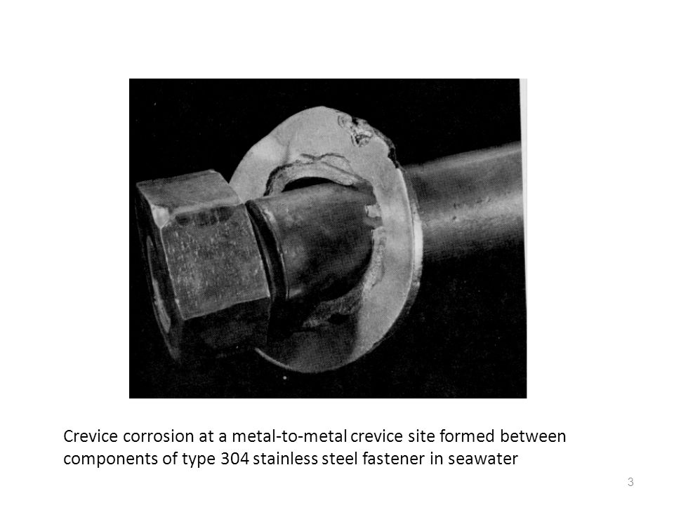 Crevice corrosion at a metal-to-metal crevice site formed between components of type 304 stainless steel fastener in seawater