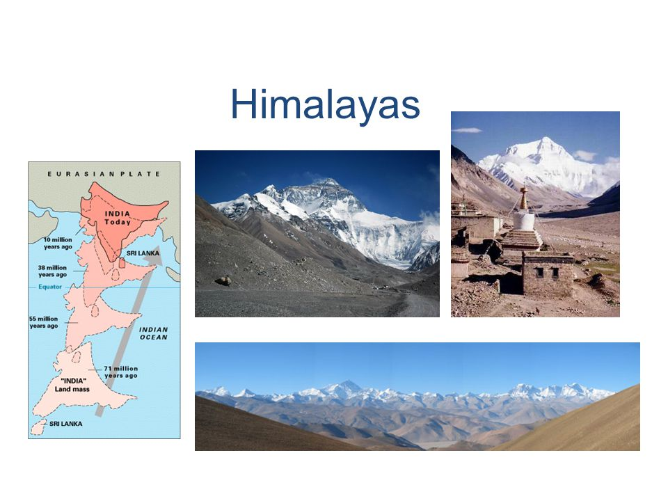 Himalayas Example: India used to be an island, but about 15 million years ago it crashed into Asia (see map).
