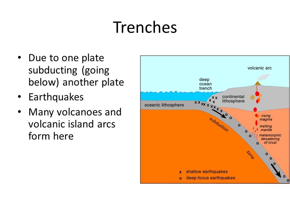 Trenches Due to one plate subducting (going below) another plate