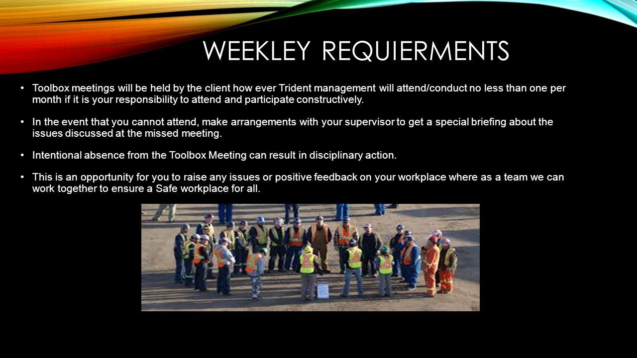 WEEKLEY REQUIERMENTS