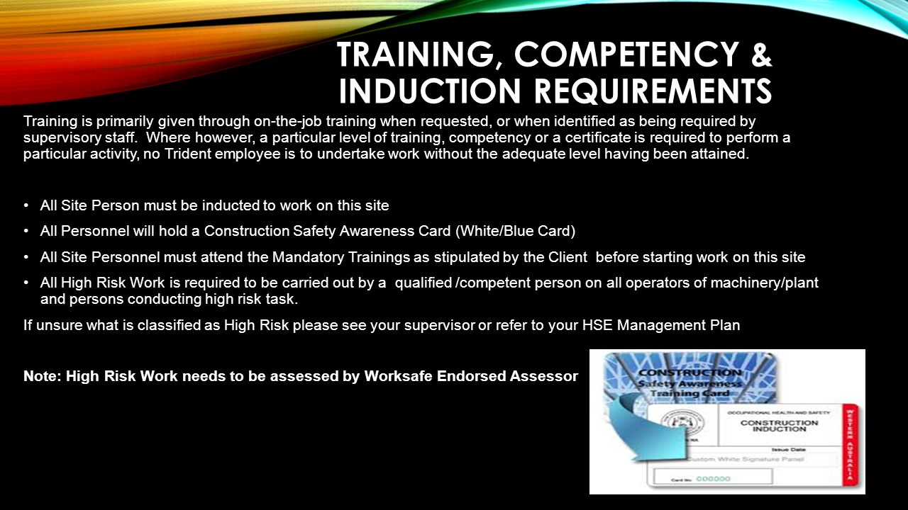 Training, Competency & Induction Requirements