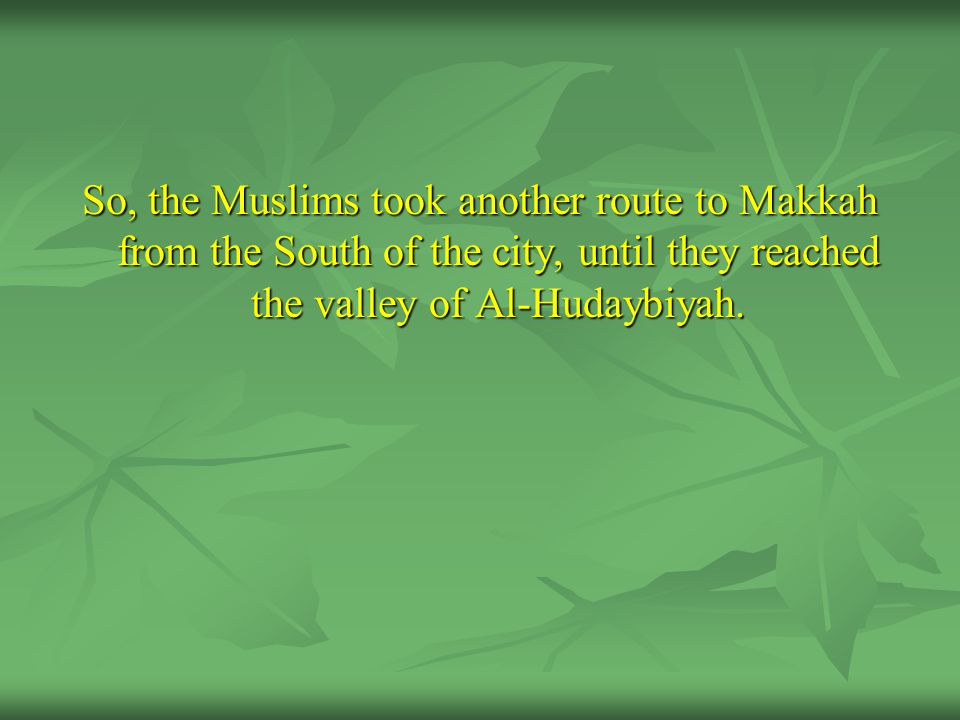 So, the Muslims took another route to Makkah from the South of the city, until they reached the valley of Al-Hudaybiyah.