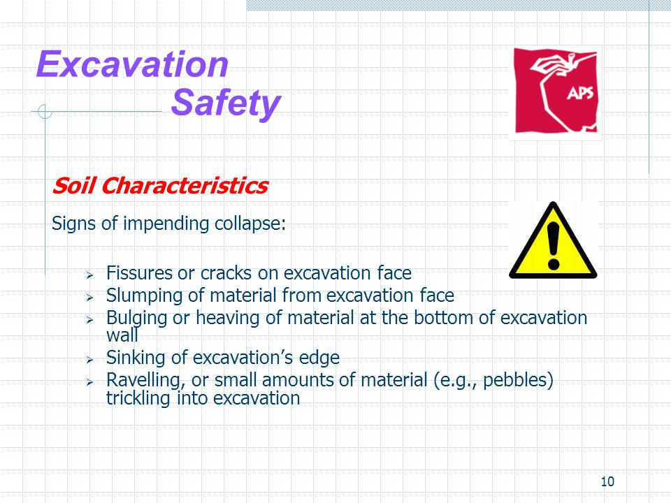 Excavation Safety Soil Characteristics Signs of impending collapse: