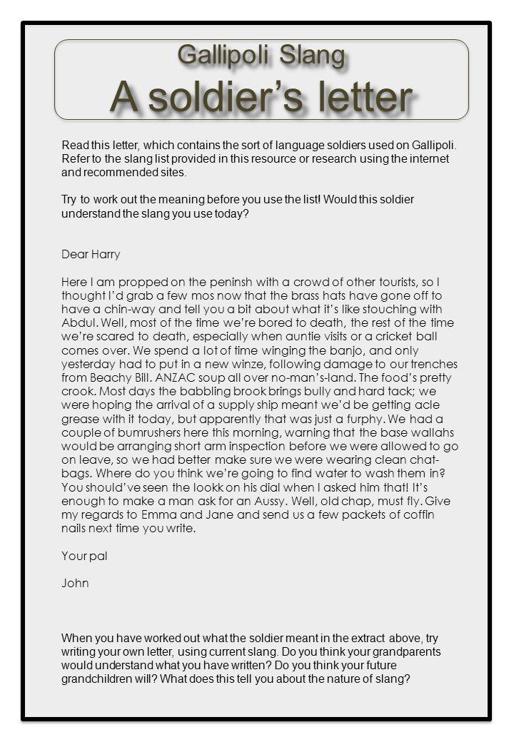 A soldier's letter Gallipoli Slang