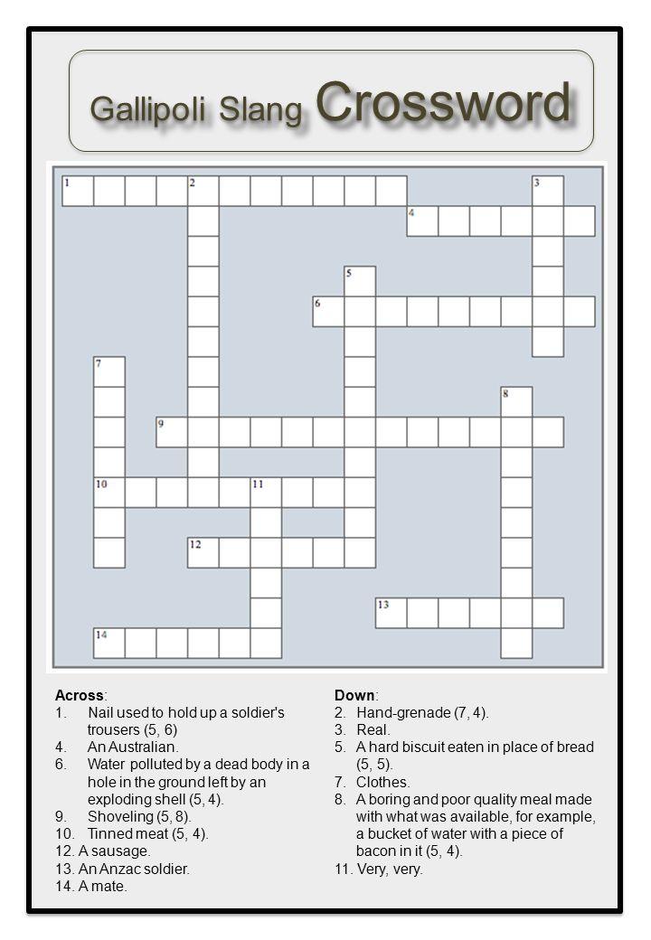 Gallipoli Slang Crossword
