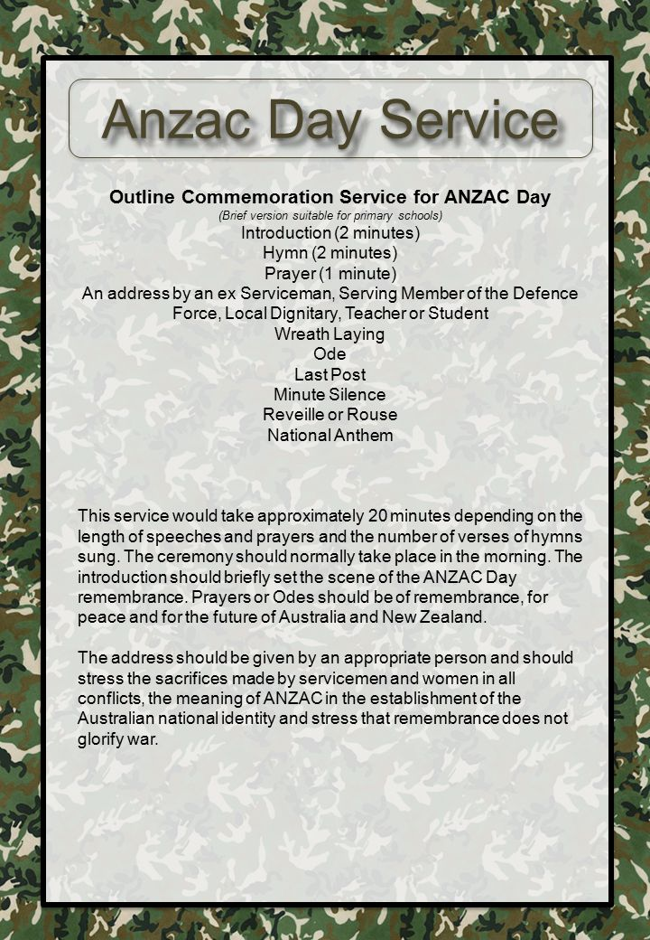 Outline Commemoration Service for ANZAC Day
