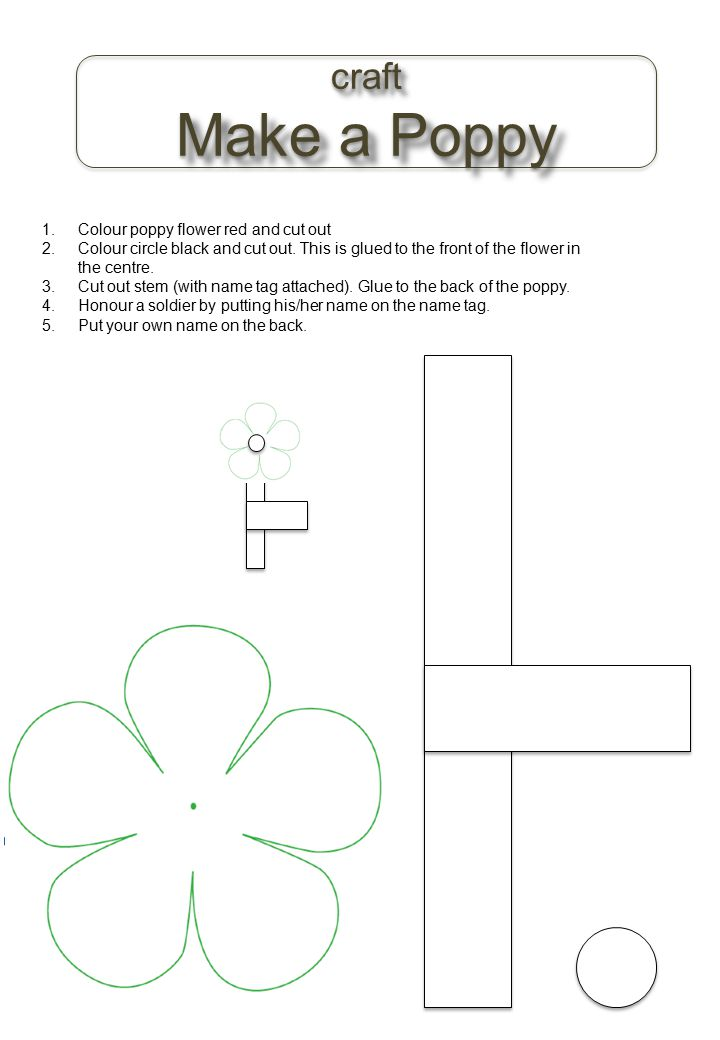 Make a Poppy craft Colour poppy flower red and cut out