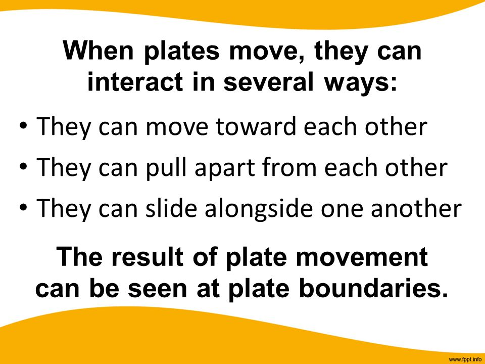 When plates move, they can interact in several ways:
