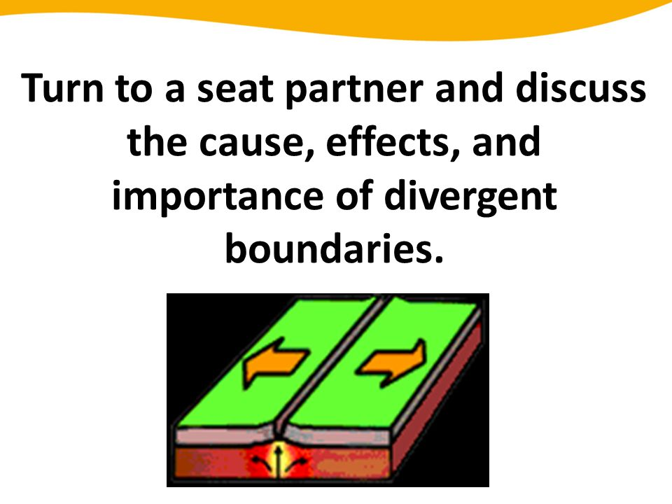 Turn to a seat partner and discuss the cause, effects, and importance of divergent boundaries.