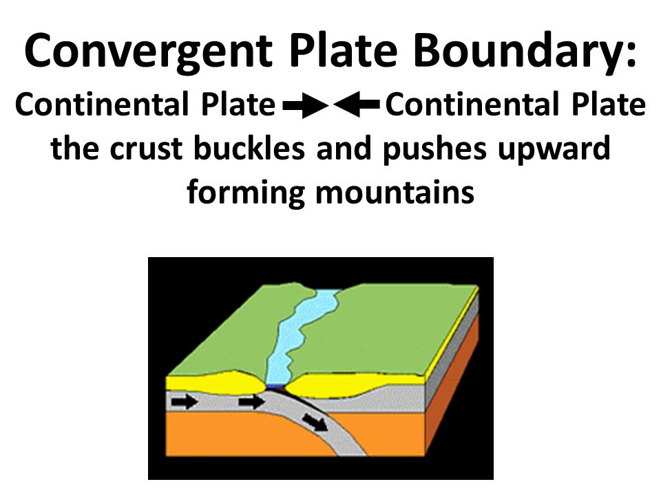 Convergent Plate Boundary: Continental Plate Continental Plate the crust buckles and pushes upward forming mountains