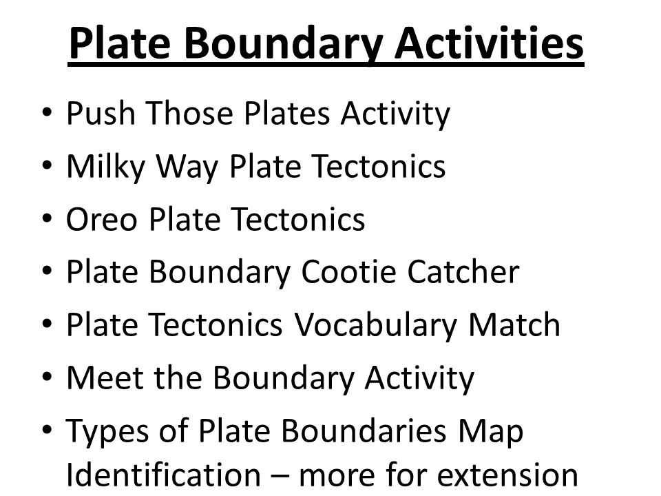 Plate Boundary Activities