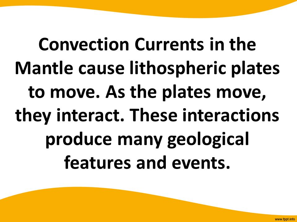 Convection Currents in the Mantle cause lithospheric plates to move