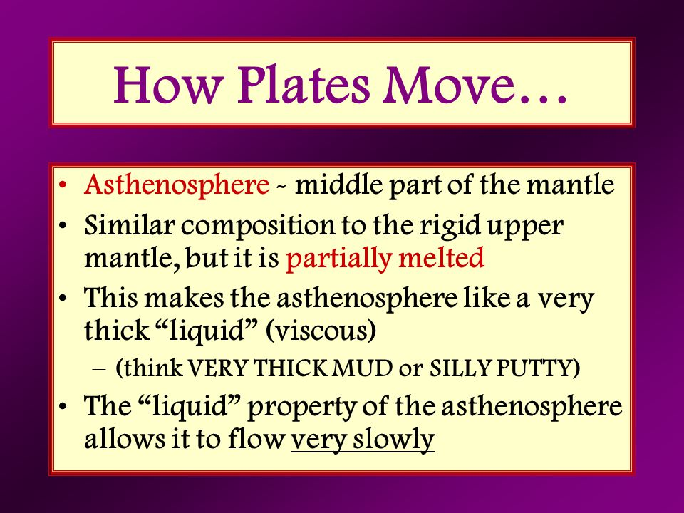 How Plates Move… Asthenosphere - middle part of the mantle