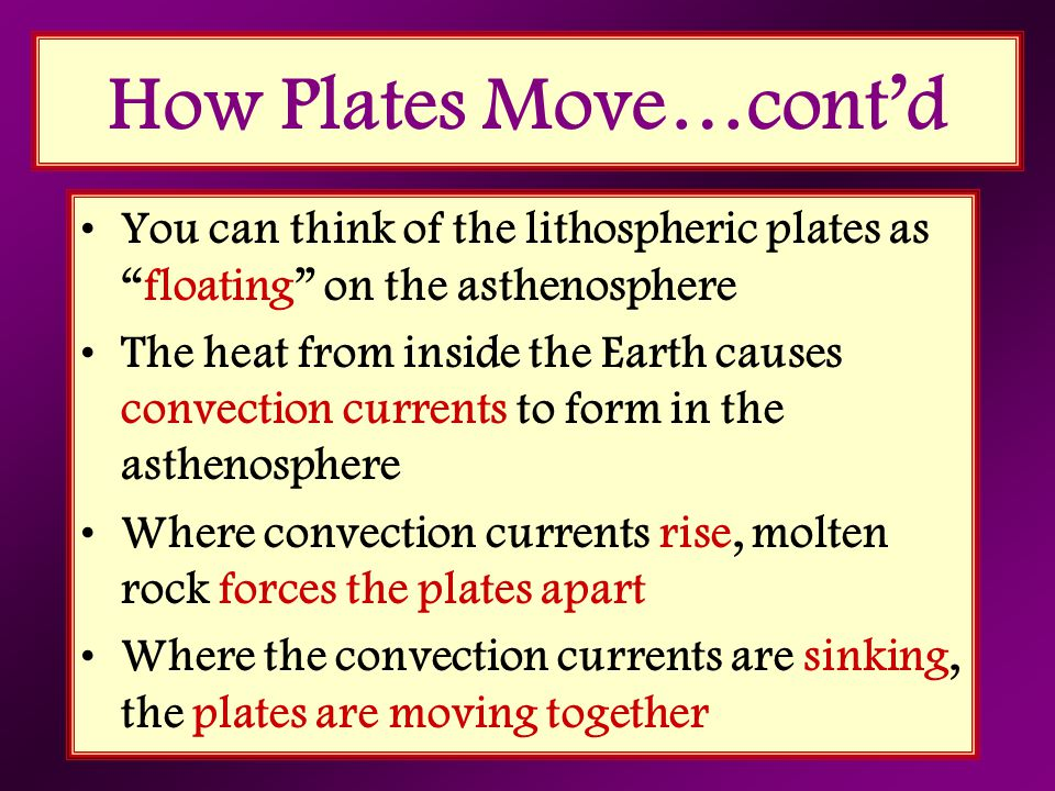 How Plates Move…cont'd