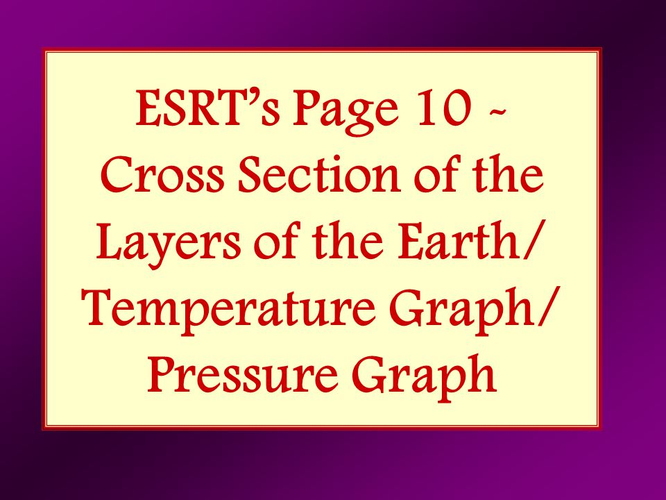 ESRT's Page 10 - Cross Section of the Layers of the Earth/ Temperature Graph/ Pressure Graph
