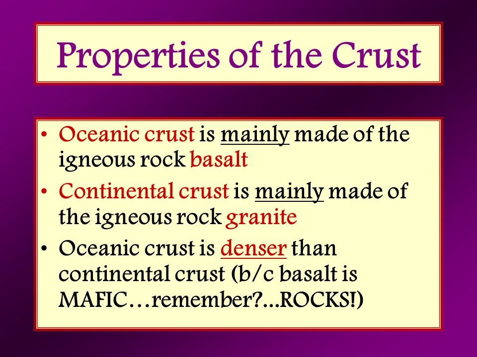 Properties of the Crust