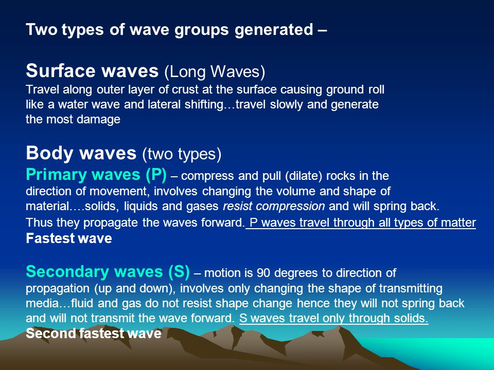 Surface waves (Long Waves)
