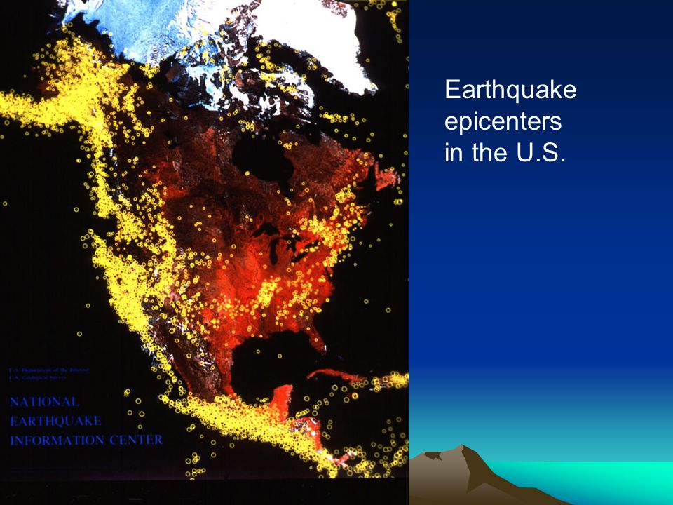 Earthquake epicenters in the U.S.