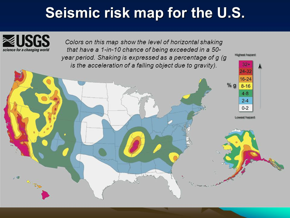 Seismic risk map for the U.S.
