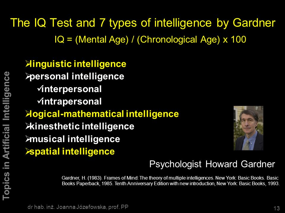 The IQ Test and 7 types of intelligence by Gardner