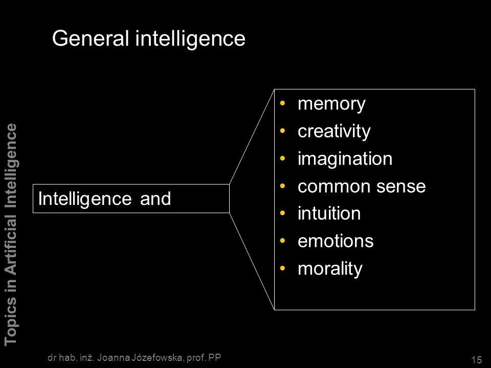General intelligence memory creativity imagination common sense