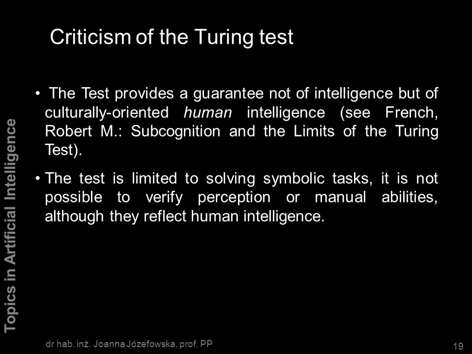 Criticism of the Turing test