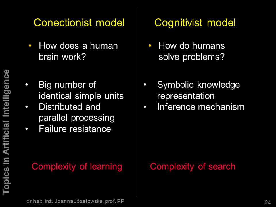 Conectionist model Cognitivist model How does a human brain work