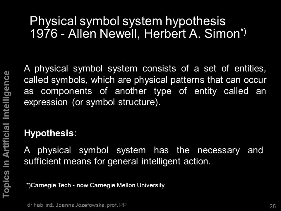Physical symbol system hypothesis 1976 - Allen Newell, Herbert A. Simon*)