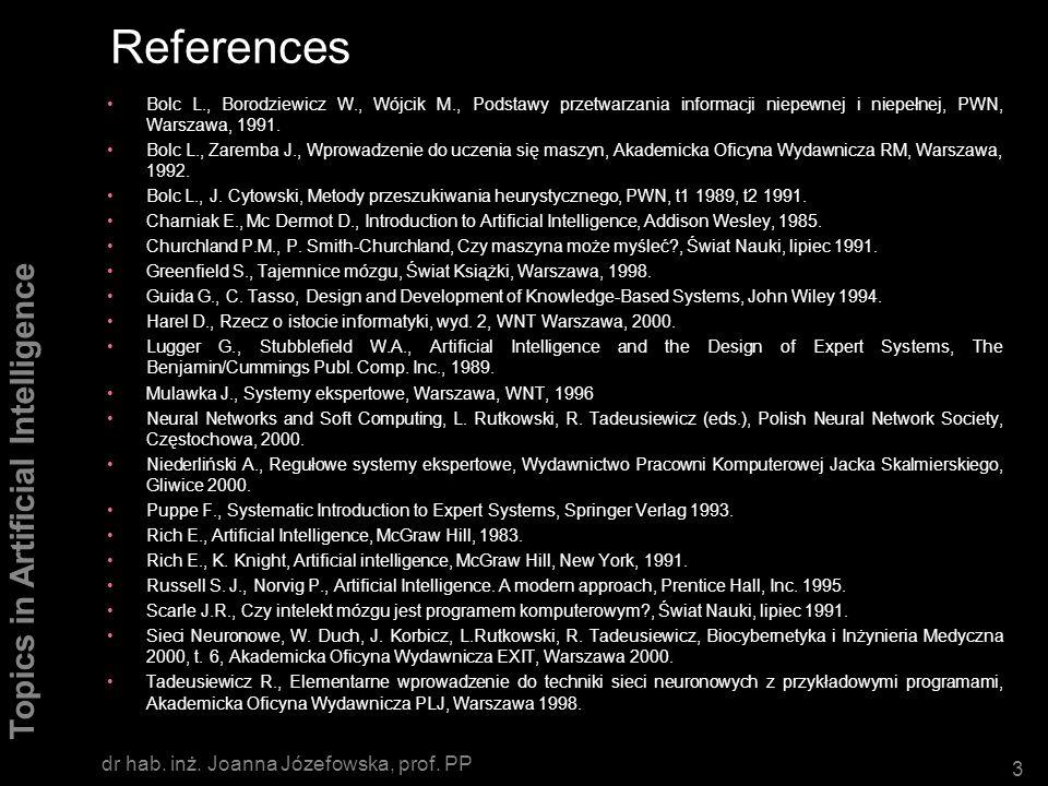 References dr hab. inż. Joanna Józefowska, prof. PP