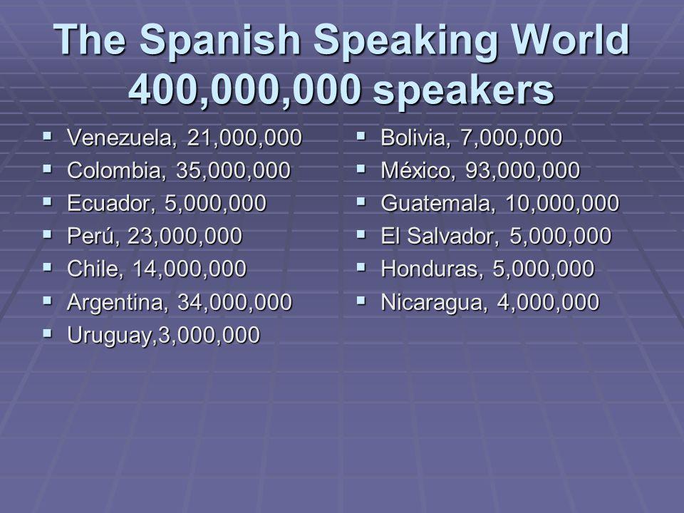 The Spanish Speaking World 400,000,000 speakers