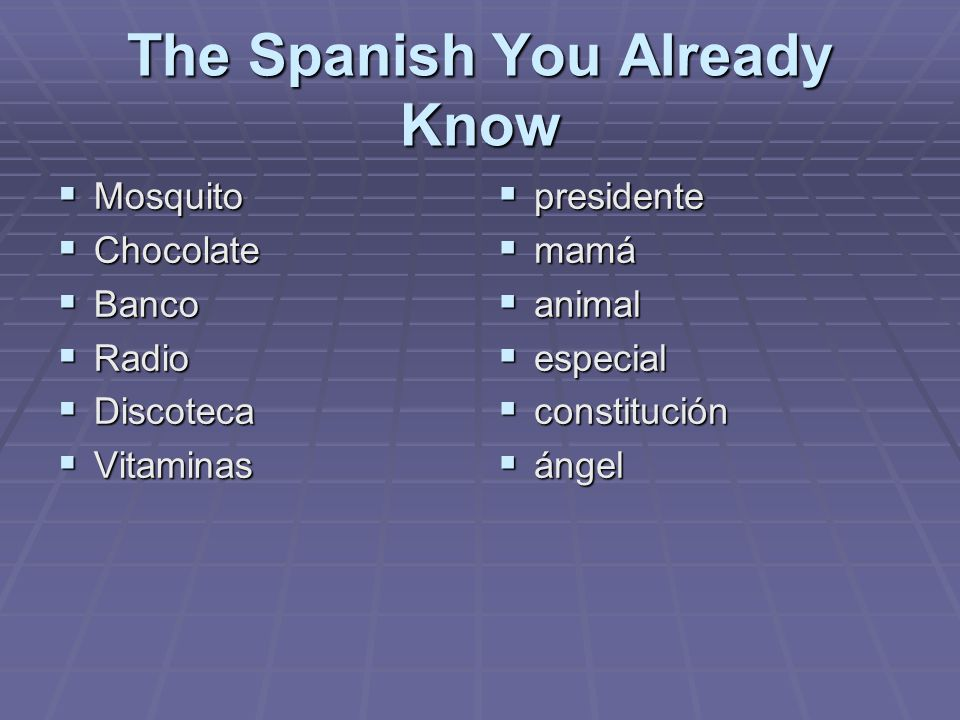 The Spanish You Already Know