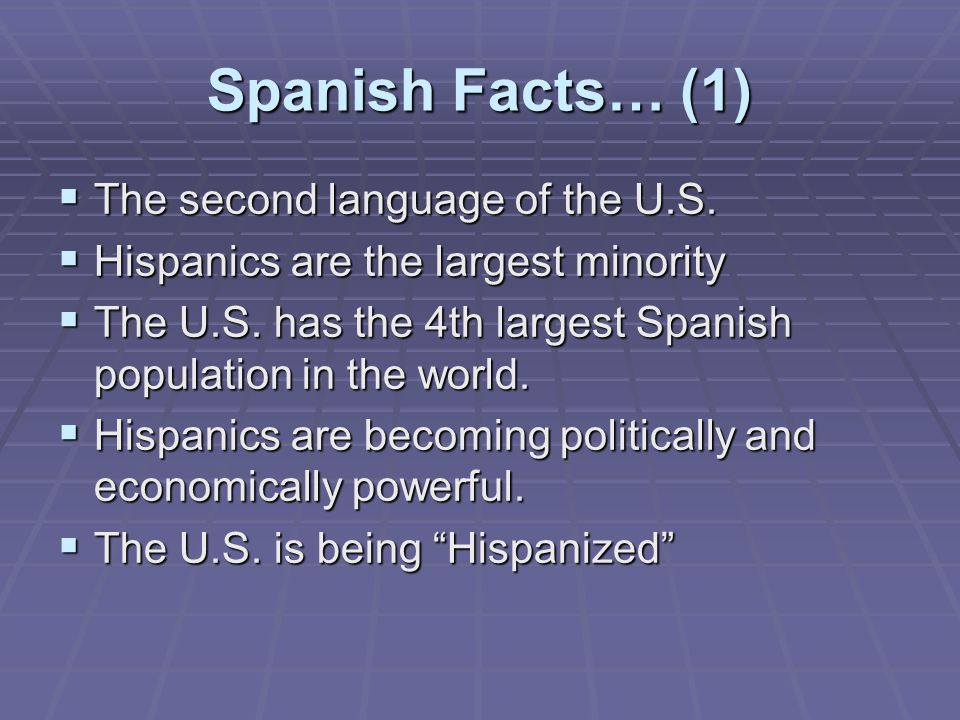 Spanish Facts… (1) The second language of the U.S.