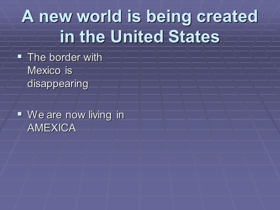 A new world is being created in the United States
