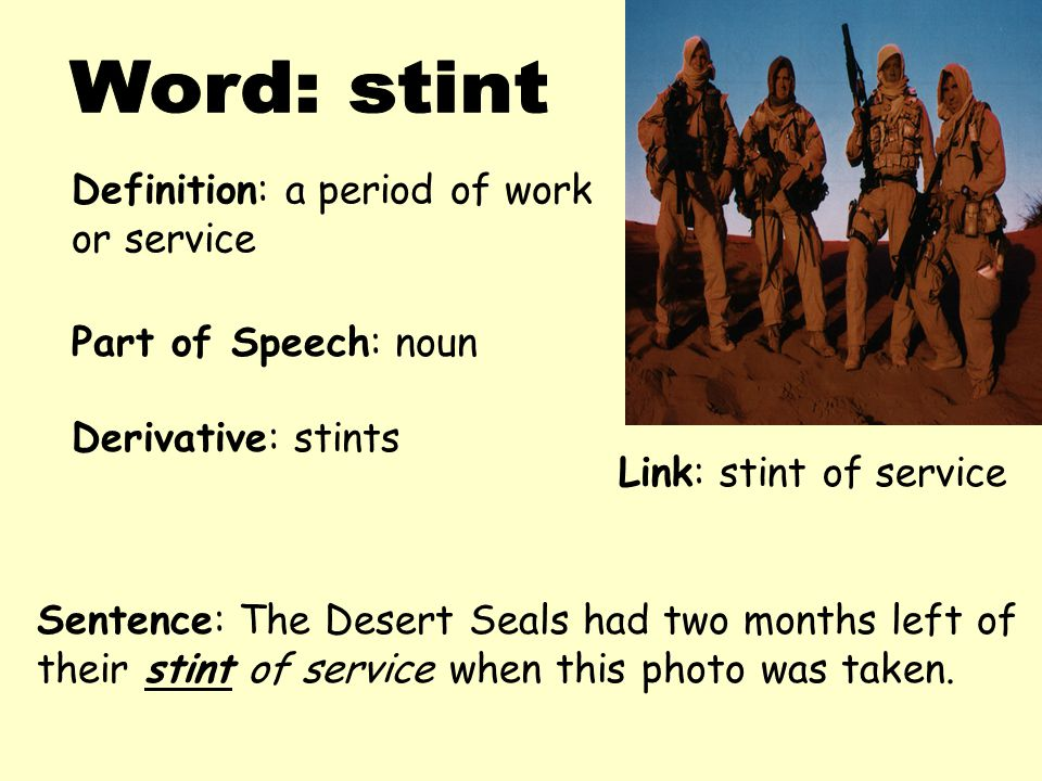 Word: stint Definition: a period of work or service