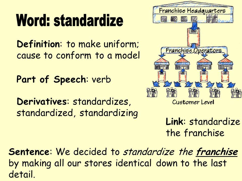 Word: standardize Definition: to make uniform;
