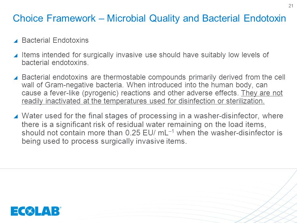 Choice Framework – Microbial Quality and Bacterial Endotoxin