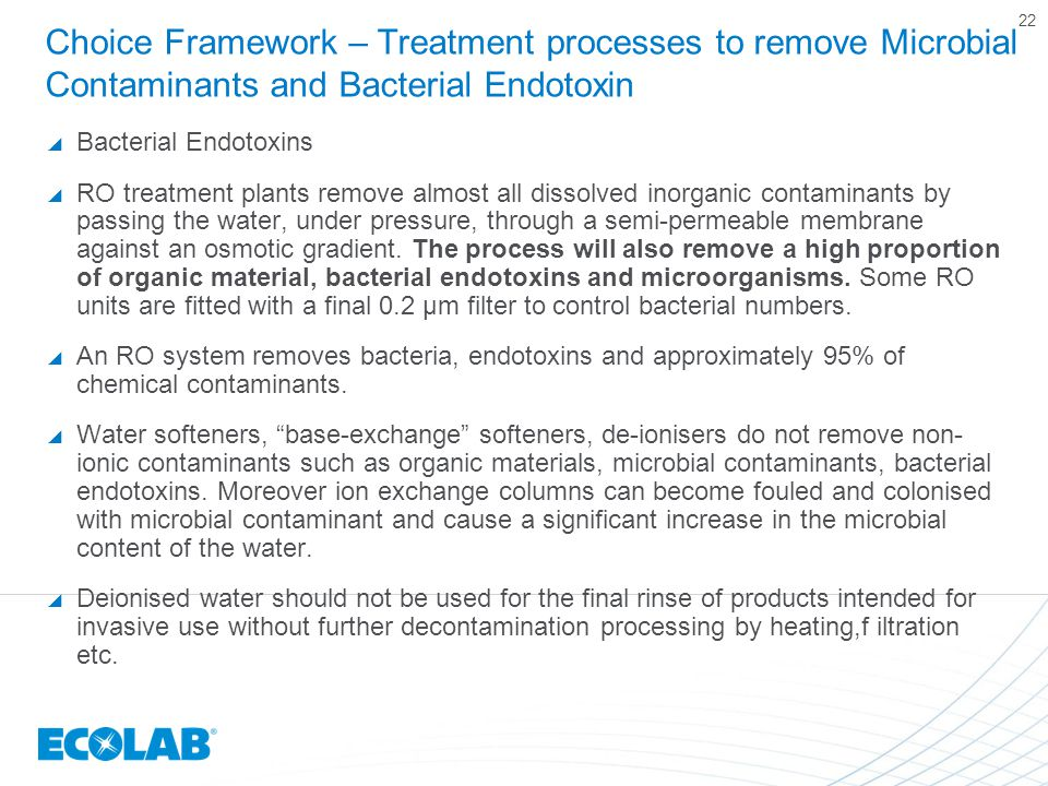 Choice Framework – Treatment processes to remove Microbial Contaminants and Bacterial Endotoxin