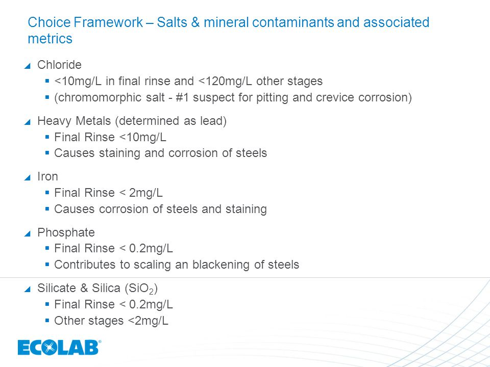 Choice Framework – Salts & mineral contaminants and associated metrics