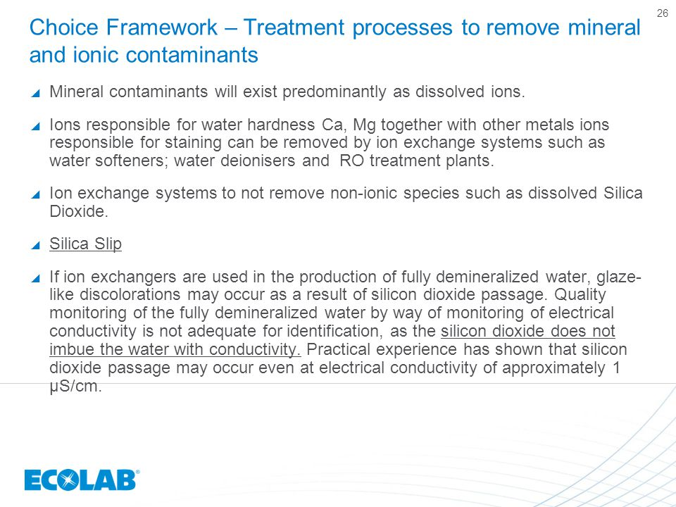 Choice Framework – Treatment processes to remove mineral and ionic contaminants