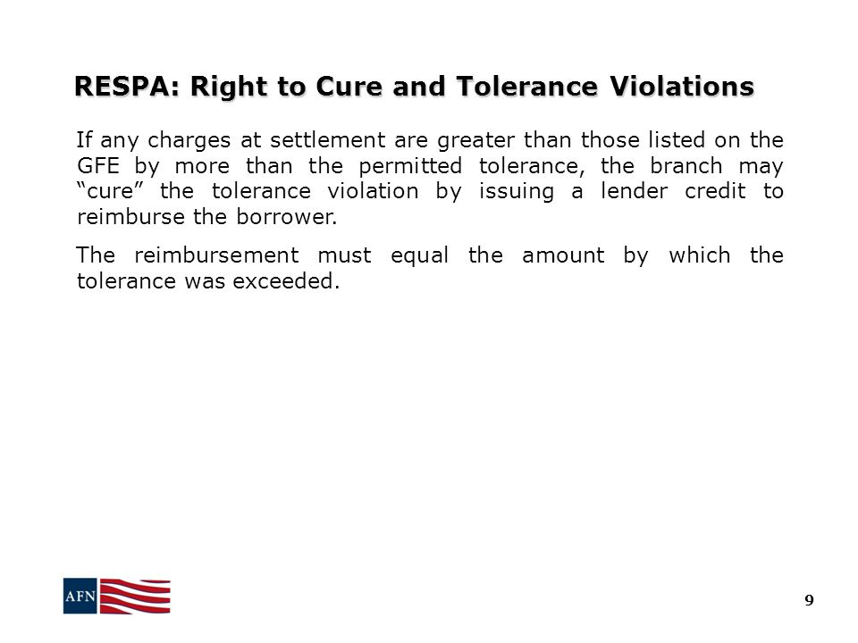 RESPA: Right to Cure and Tolerance Violations