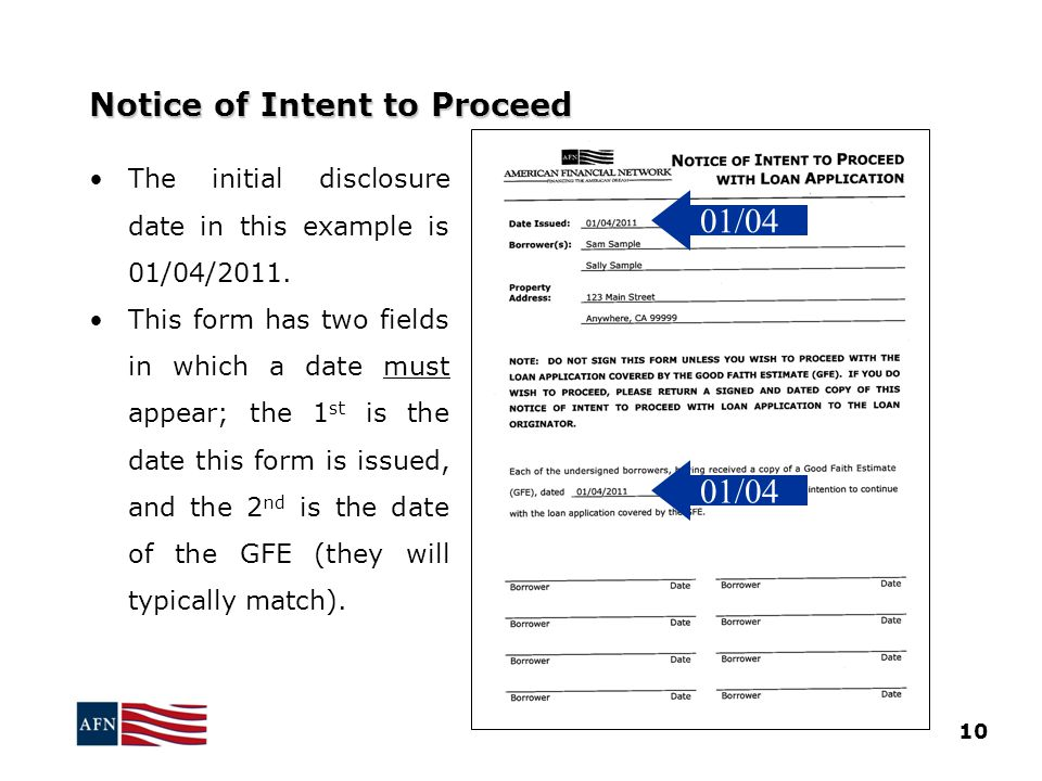 Notice of Intent to Proceed