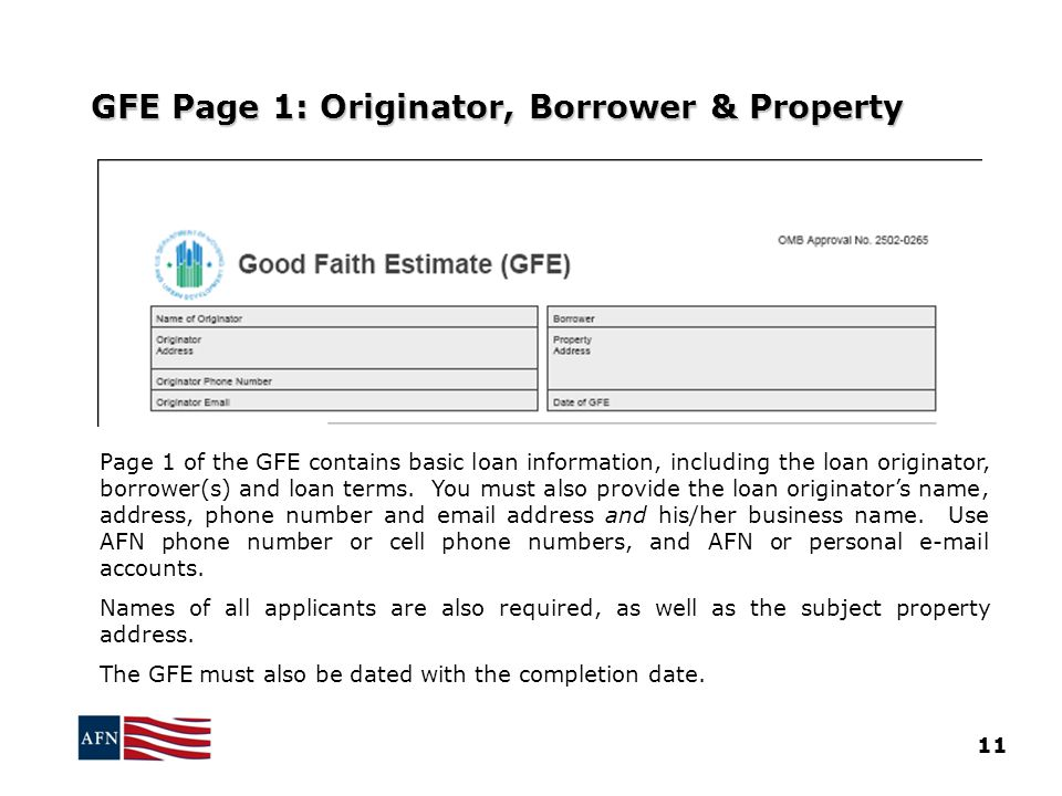 GFE Page 1: Originator, Borrower & Property