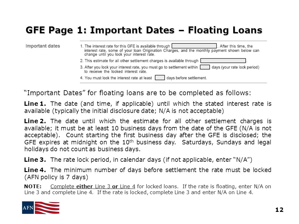 GFE Page 1: Important Dates – Floating Loans
