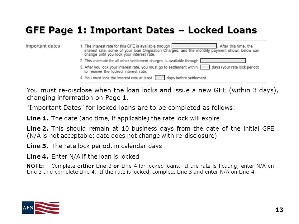 GFE Page 1: Important Dates – Locked Loans