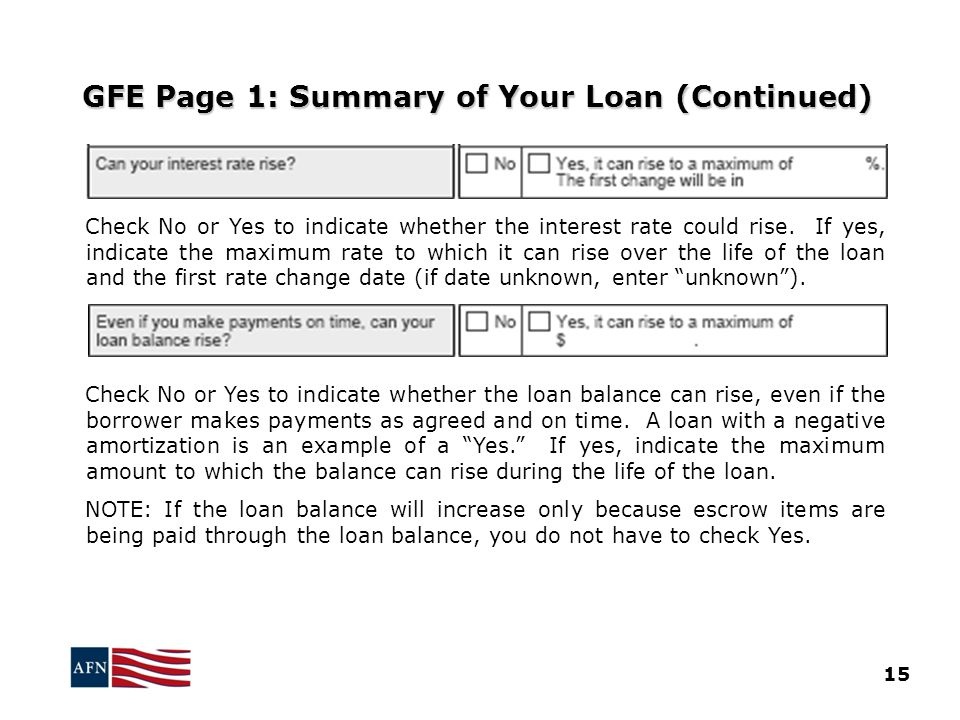GFE Page 1: Summary of Your Loan (Continued)