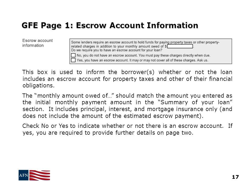 GFE Page 1: Escrow Account Information