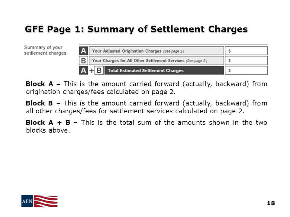 GFE Page 1: Summary of Settlement Charges