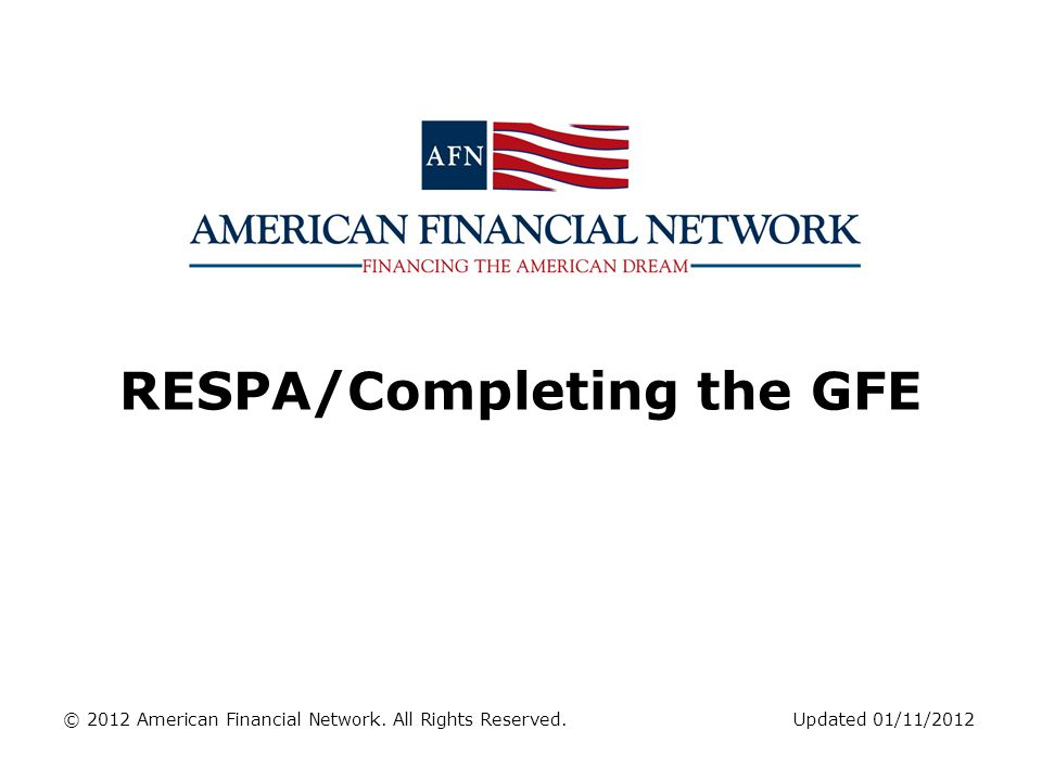 RESPA/Completing the GFE